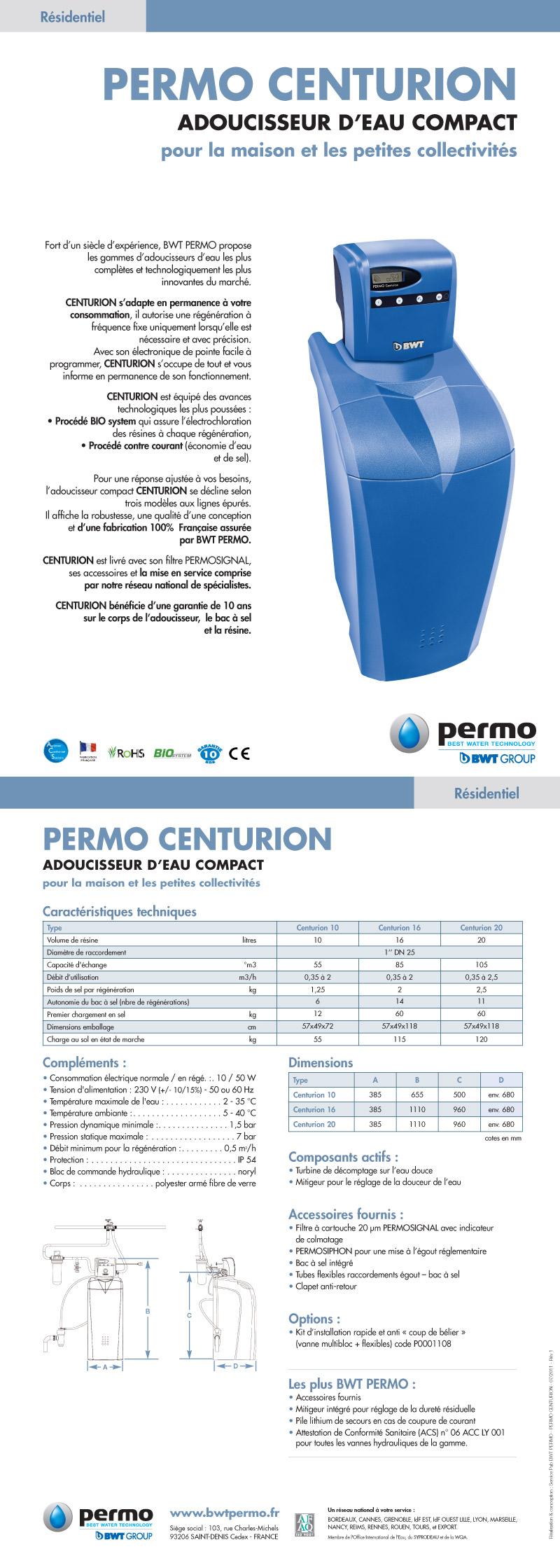 permo centurion adoucisseur d 39 eau compact. Black Bedroom Furniture Sets. Home Design Ideas